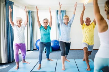 Elderly doing yoga at a retirement center in Vancouver WA