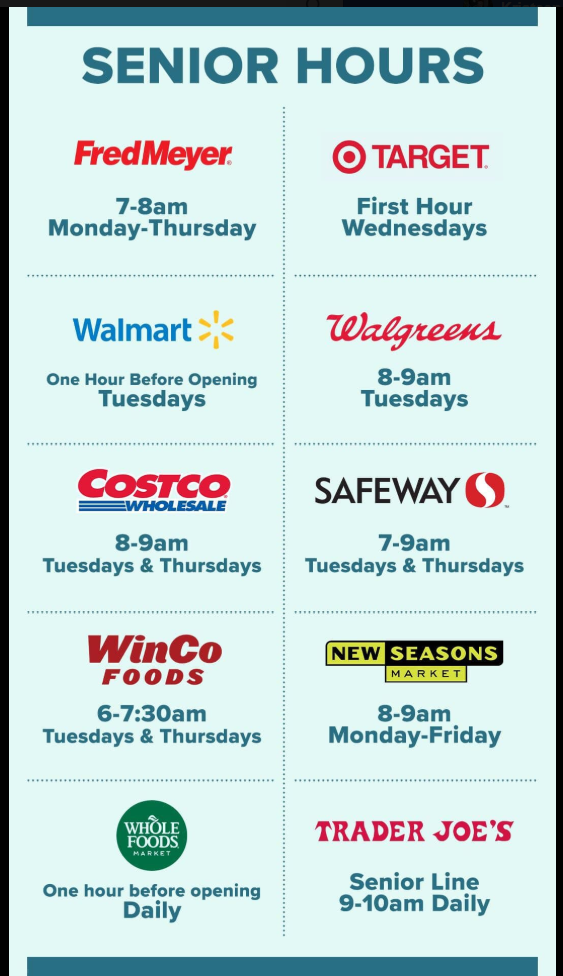 Dedicated Shopping Hours for Seniors in Vancouver WA