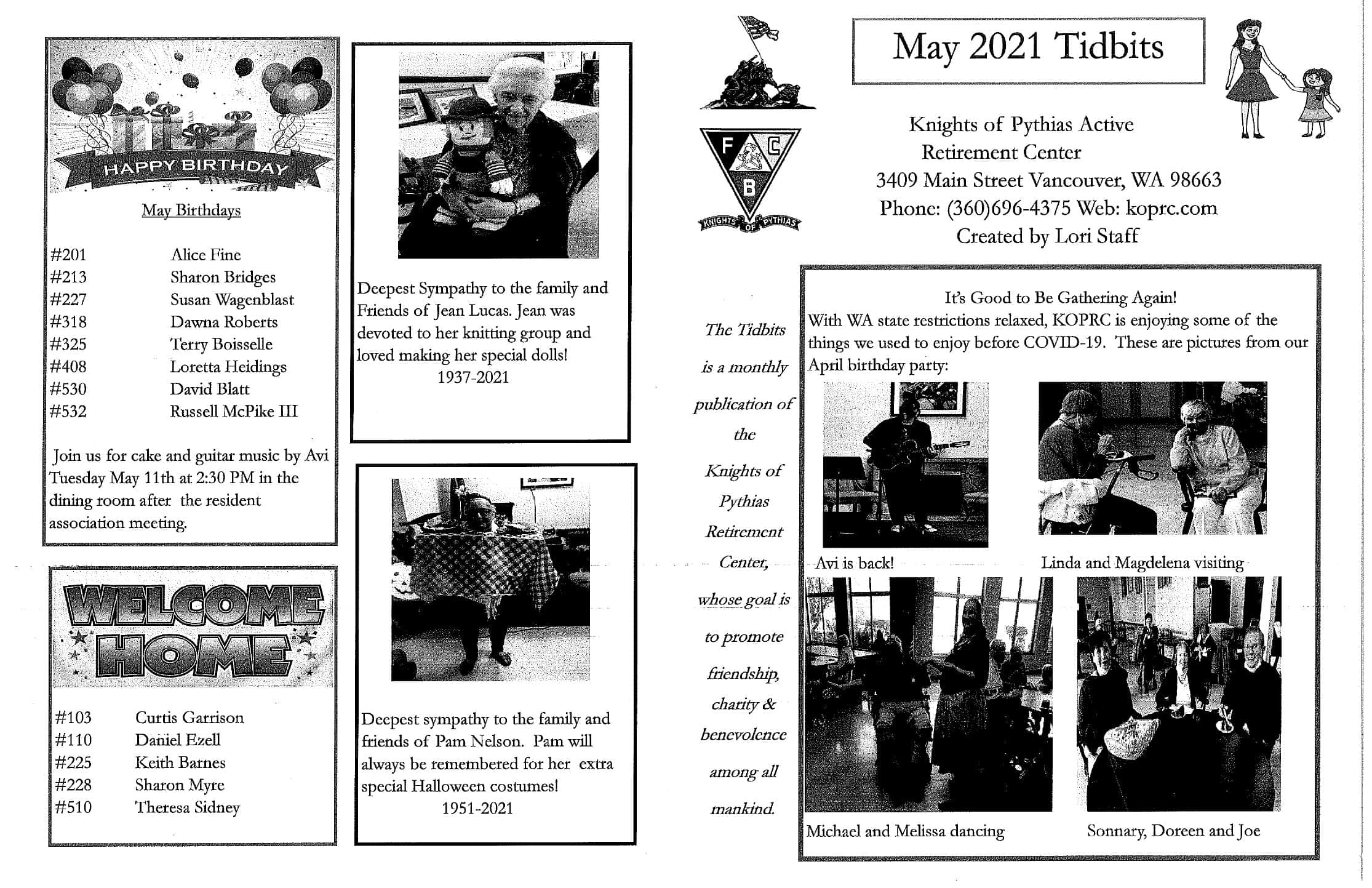 May 2021 Newsletter Knights of Pythias page 1