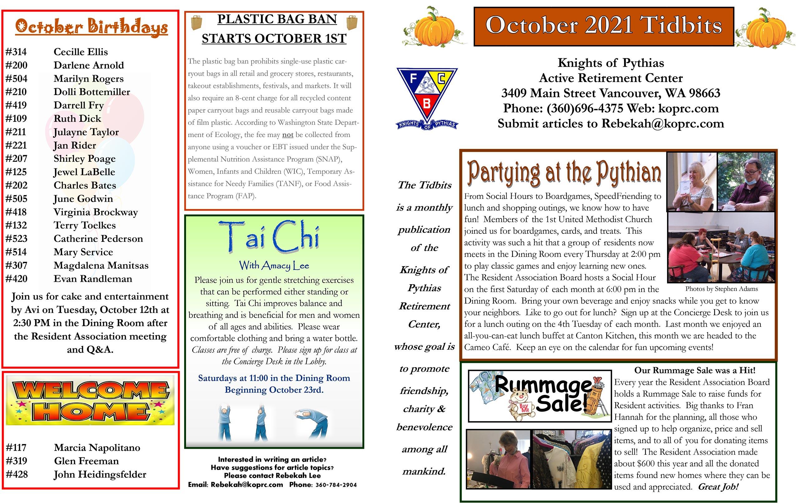 October 2021 Tidbits Page 1